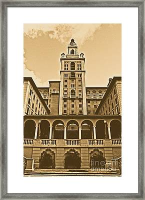 Biltmore Hotel Miami Coral Gables Florida Exterior Colonnade And Tower Rustic Digital Art Framed Print by Shawn O'Brien