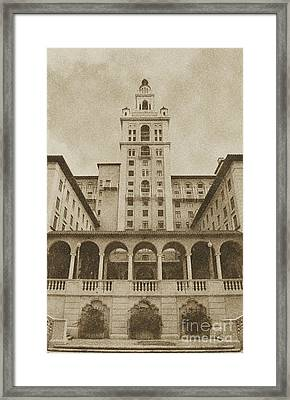 Biltmore Hotel Miami Coral Gables Florida Exterior Colonnade And Tower Vintage Digital Art Framed Print by Shawn O'Brien