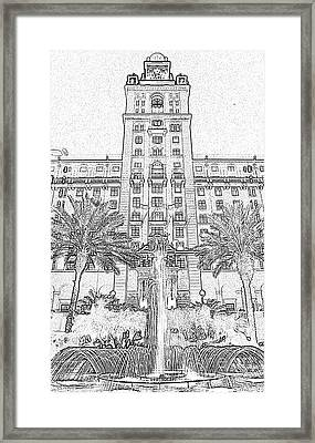 Biltmore Hotel Miami Coral Gables Florida Exterior Entrance Tower Black And White Digital Art Framed Print by Shawn O'Brien