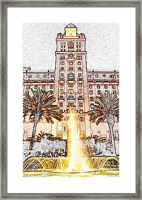 Biltmore Hotel Miami Coral Gables Florida Exterior Entrance Tower Colored Pencil Digital Art Framed Print by Shawn O'Brien