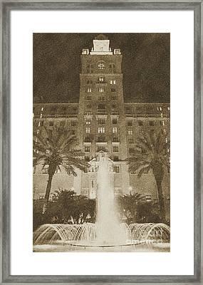 Biltmore Hotel Miami Coral Gables Florida Exterior Entrance Tower Vintage Digital Art Framed Print by Shawn O'Brien