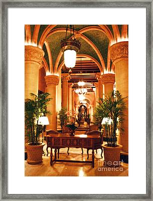 Biltmore Hotel Vintage Lobby Coral Gables Miami Florida Arches And Columns Diffuse Glow Digital Art Framed Print by Shawn O'Brien