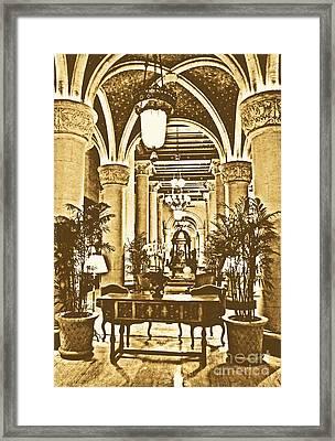 Biltmore Hotel Vintage Lobby Coral Gables Miami Florida Arches And Columns Rustic Digital Art Framed Print by Shawn O'Brien