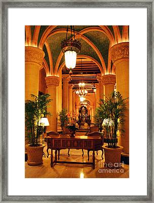 Biltmore Hotel Vintage Lobby Coral Gables Miami Florida Arches And Columns Framed Print by Shawn O'Brien