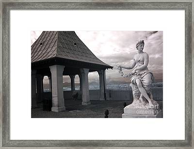 Biltmore Italian Garden Gazebo - Biltmore House Statues Architecture Garden Framed Print by Kathy Fornal