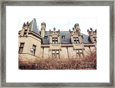 Biltmore Mansion Estate Architectural Windows And Rooftop Side View  Framed Print by Kathy Fornal