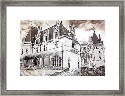 Biltmore Mansion Estate Asheville North Carolina - Surreal Biltmore Estate Mansion  Framed Print by Kathy Fornal