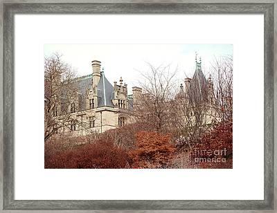 Biltmore Mansion Estate Autumn Fall Season  - Biltmore Estate Ashville North Carolina Autumn  Framed Print by Kathy Fornal