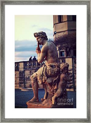 Biltmore Mansion Estate Italian Sculpture Art - Biltmore Statues Italian Archictecture Framed Print by Kathy Fornal