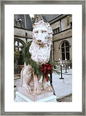 Biltmore Mansion Estate Lion - Biltmore Mansion Mascot - Biltmore Lion Christmas Wreath Framed Print by Kathy Fornal