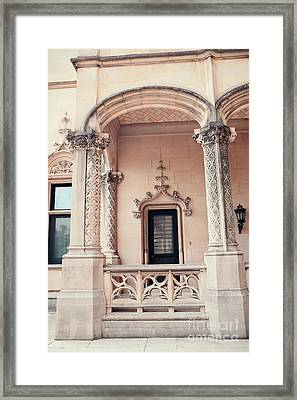 Biltmore Mansion Estate Windows And Doors - Biltmore Estates Italian Architecture Details  Framed Print by Kathy Fornal