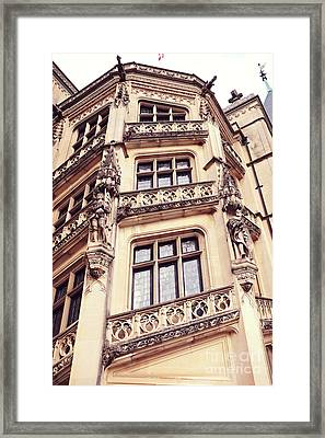Biltmore Mansion Estate Windows - Biltmore Mansion Gothic Italian Architecture Framed Print by Kathy Fornal