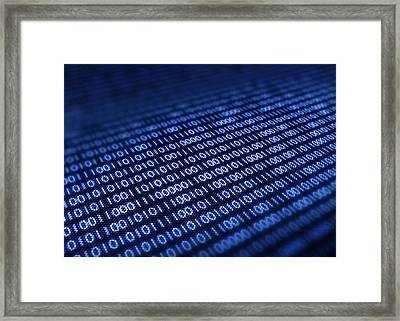 Binary Code On Pixellated Screen Framed Print