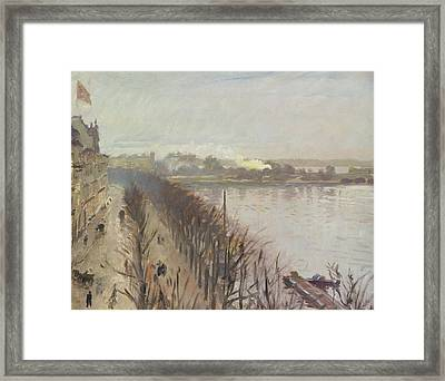 Binnenalster And Neuer Junfernstieg In Hamburg Framed Print by Laurits Regner Tuxen