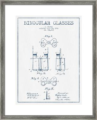 Binocular Glasses Patent Drawing From 1902 - Blue Ink Framed Print by Aged Pixel