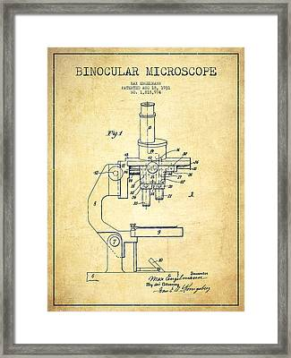 Binocular Microscope Patent Drawing From 1931-vintage Framed Print by Aged Pixel