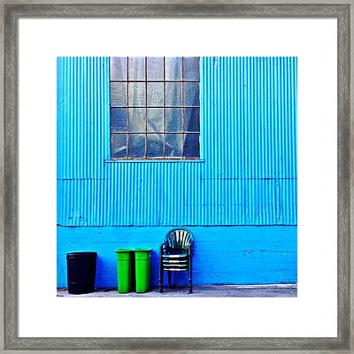 Bins And Chairs Framed Print