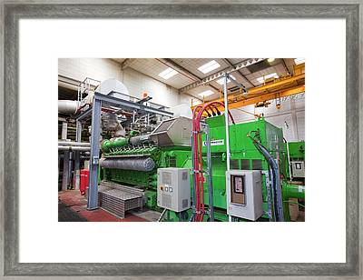 Biogas Boilers At Sewage Plant Framed Print by Ashley Cooper
