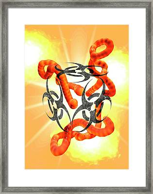 Biohazard Sign And Ebola Virus Framed Print by Victor Habbick Visions
