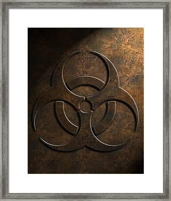 Framed Print featuring the digital art Biohazard Symbol Stone Texture by Brian Carson