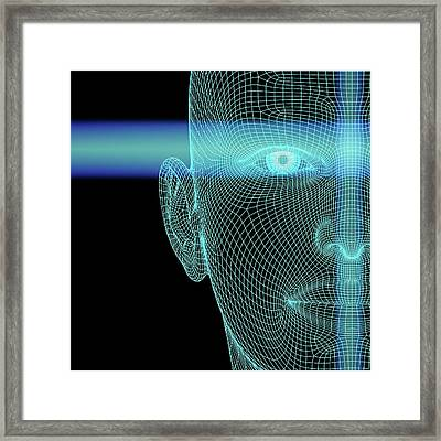 Biometric Polygon Head With Scanlines Framed Print by Alfred Pasieka
