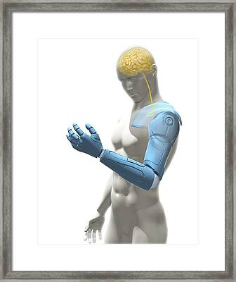 Bionic Arm, Artwork Framed Print by Science Photo Library