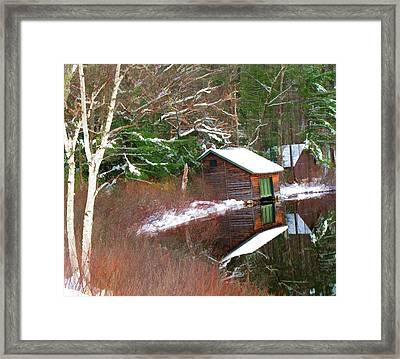 Birch And Boat House Framed Print by Barbara McDevitt