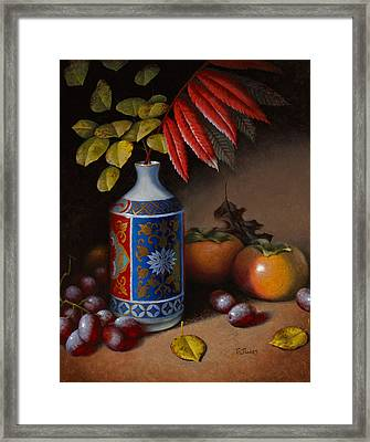 Birch And Sumac With Persimmons Framed Print by Timothy Jones