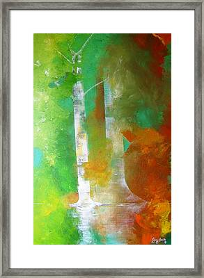 Framed Print featuring the painting Birch In Fall Colors by Gary Smith