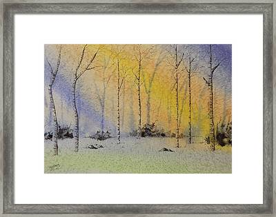 Framed Print featuring the painting Birch In Blue by Richard Faulkner