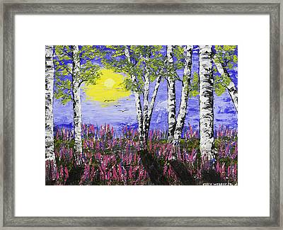 Birch Trees And Lupine Flowers Painting Framed Print by Keith Webber Jr