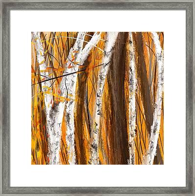 Birch Trees Autumn Framed Print by Lourry Legarde