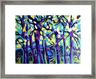 Birch Trees Blue Framed Print