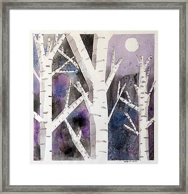 Birch Trees In Moonlight Framed Print by Ethan Altshuler