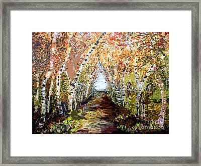 Birch Trees Modern Mixed Media Art Framed Print by Ginette Callaway