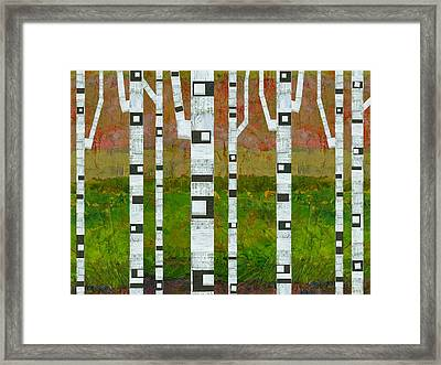 Birch Trees With Green Grass Framed Print by Michelle Calkins