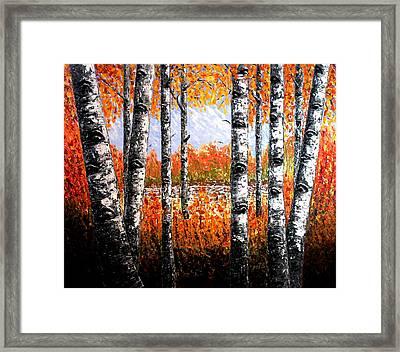 Birches Forest Palette Knife Painting Framed Print by Georgeta Blanaru