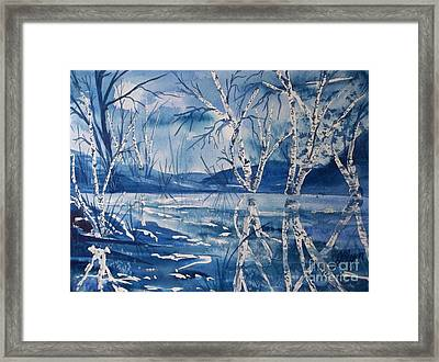 Birches In Blue Framed Print by Ellen Levinson