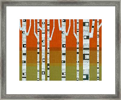 Birches In The Hills Framed Print by Michelle Calkins