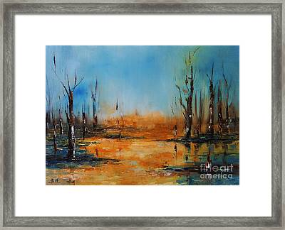 Birches Pond Framed Print