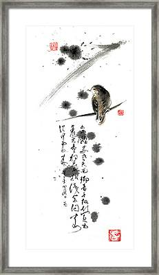 Bird And The Zhang Zhi Poem Calligraphy Sumi-e Original Painting Artwork Framed Print by Mariusz Szmerdt