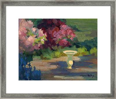 Bird Bath And Rhodies Framed Print by Diane McClary