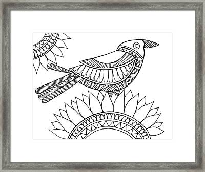 Bird Crow Framed Print by Neeti Goswami