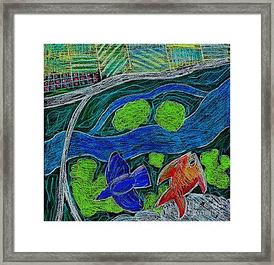 Bird Flying Over Landscape And Fish Swimming In River  Framed Print by Genevieve Esson