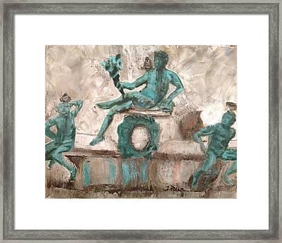 Bird Fountain Play Framed Print