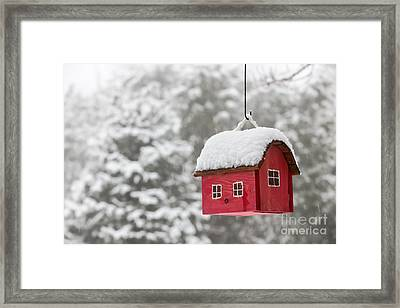 Bird House With Snow In Winter Framed Print