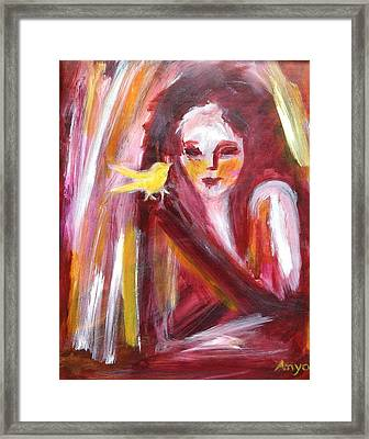 Framed Print featuring the painting Bird In Hand by Anya Heller