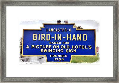 Bird-in-hand City Sign Framed Print by Stephen Stookey