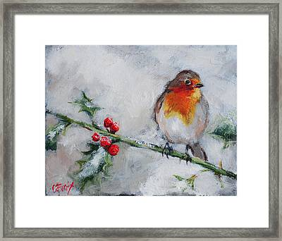Bird In The Winter Snow Framed Print by Carole Foret