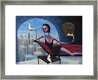Bird Lady Framed Print by Ned Shuchter